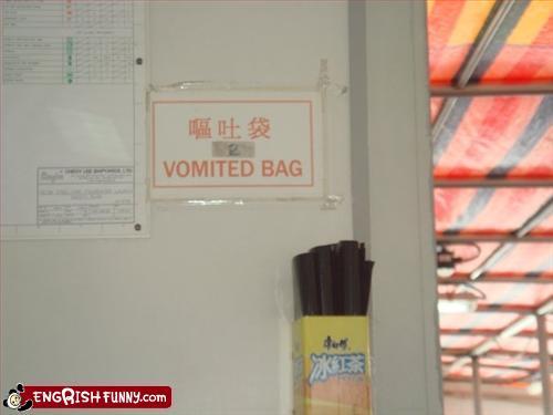 funny translation vomited bag