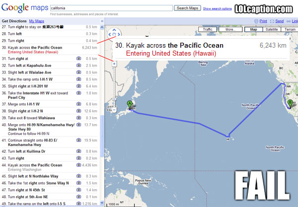 Directions from Japan to California: According to Google Maps you just Kayak some 10,000km across the Pacific Ocean. No Worries I do that all the time.