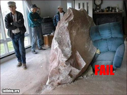 funny fail pics giant rock in living room