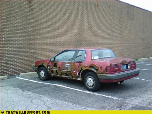 rusted heap of shit car