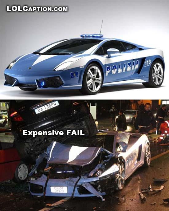 epic fail police crash Lamborghini pursuit car