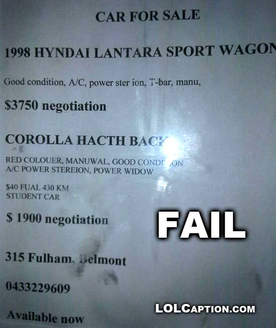 funny-fail-pics-engrish-poster-car-sale-bad-spelling