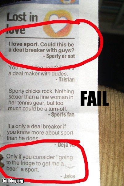 funny fail pics sport as a dating deal breaker