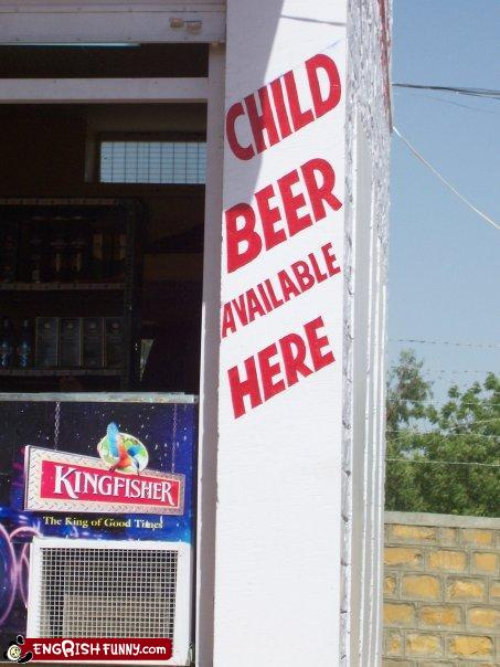 funny engrish translation child beer available here