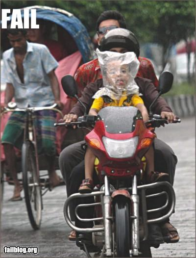 funny fail pics plastic bag on childs head rain protection for motorbikes