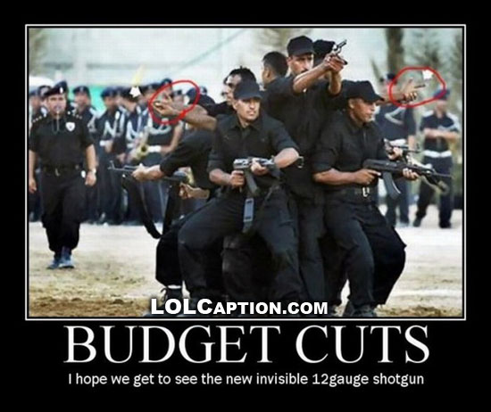 Funny demotivational picture budget cuts lolcaption funny pictures