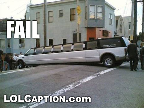 funny fail pics limo hill bottom out failure