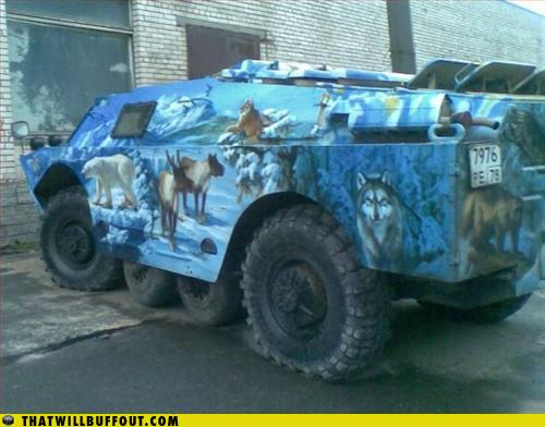 wtf tank with wolves painted on it