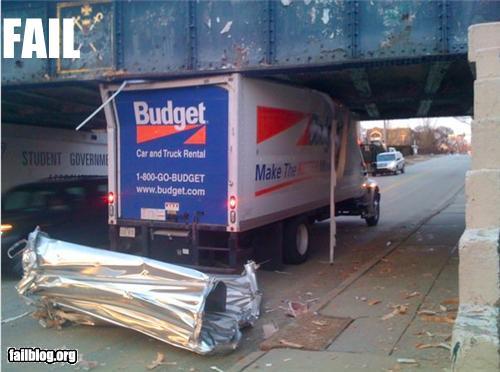 budget rent-a-truck stuck under bridge epic fail