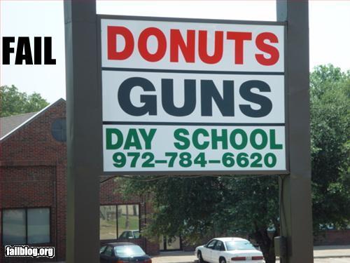 funny fail pics donuts guns day school