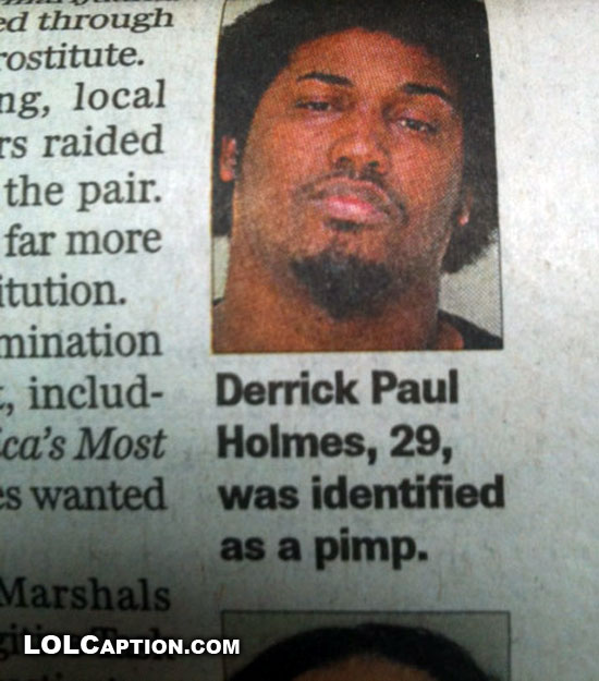 Funny newspaper clippings: Pimp Identified - Epic Fail Pics Funny People Captions